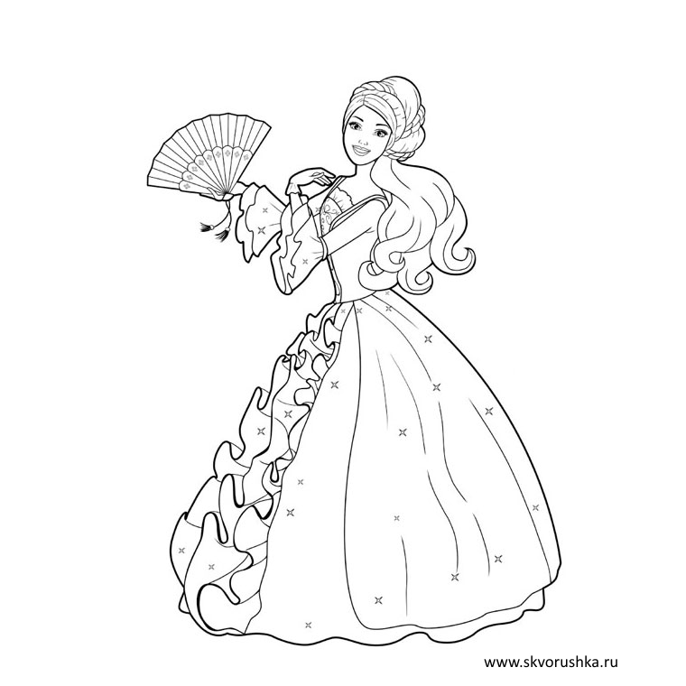 Барби в красивых платьях раскраска
