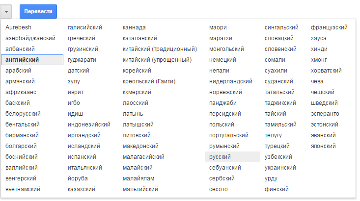 Стандартный вид переводчика от Google
