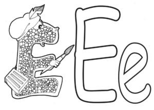 Буква Е раскраска
